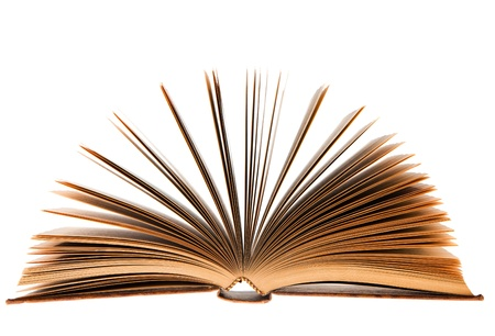 fanned: Fanned old book isolated on white background Stock Photo