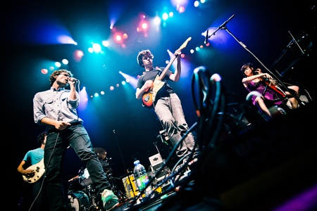 band instruments: Ra Ra Riot is an American indie rock band from Syracuse, New York, consisting of vocalist Wes Miles, bassist Mathieu Santos, guitarist Milo Bonacci, violinist Rebecca Zeller, and drummer Kenny Bernard. They were doing a concert May 23, 2013 in Montreal at