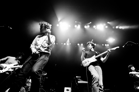 roth: Ra Ra Riot is an American indie rock band from Syracuse, New York, consisting of vocalist Wes Miles, bassist Mathieu Santos, guitarist Milo Bonacci, violinist Rebecca Zeller, and drummer Kenny Bernard. They were doing a concert May 23, 2013 in Montreal at