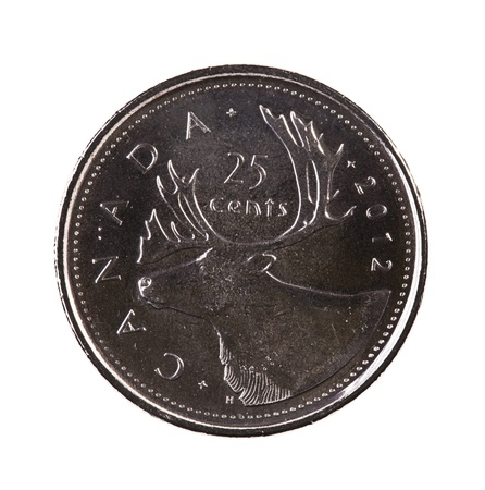 25 cents: A brand new 2012 shiny Canadian twenty-five cents coin with moose