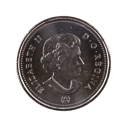 A brand new 2012 shiny Canadian twenty-five cents coin with the Queen Elizabeth portrait Stock Photo - 20013108