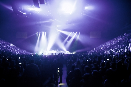 huge: Big Live Music Concert and with Crowd and Lights