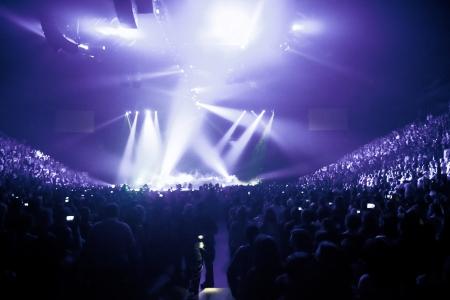 concierto de rock: Gran Concierto de música en vivo y con la muchedumbre y las luces