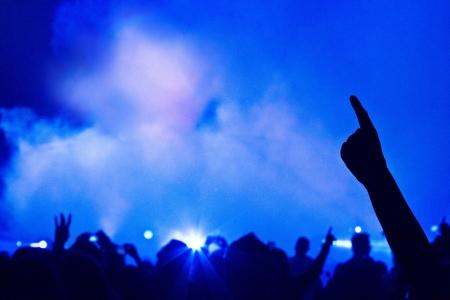 blue smoke: Big Live Music Concert and with Crowd and Lights
