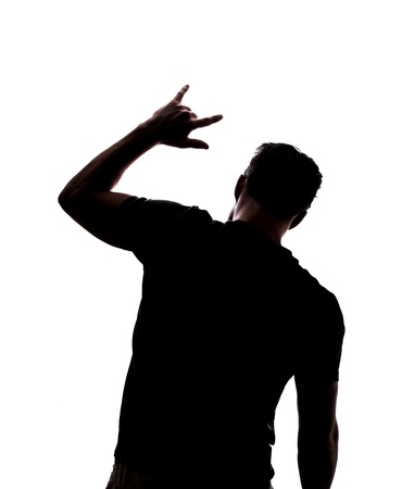 Man rocking on in silhouette isolated over white background