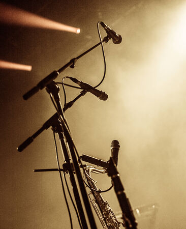 Set of microphones on stage before and event, show, performance, etc with copyspace