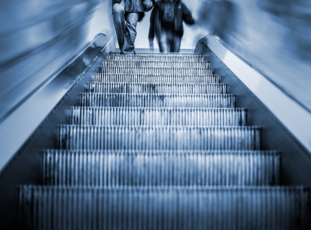 Underground Elevator Staircase with motion blur and blue tint