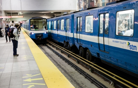 Montreal, Canada, October 15, 2013: Montreal Metro during the evening a Berri station