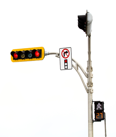 No Right Turn on red Light Intersection Isolated On White Background photo