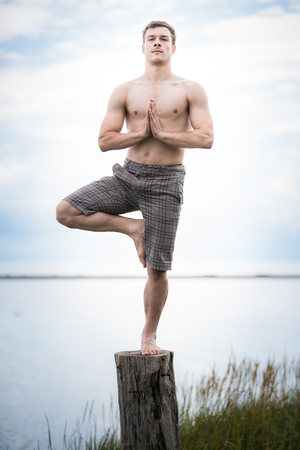 tree position: Young Adult Doing the Tadasana (Tree) position in Yoga on a Stump in Nature Stock Photo