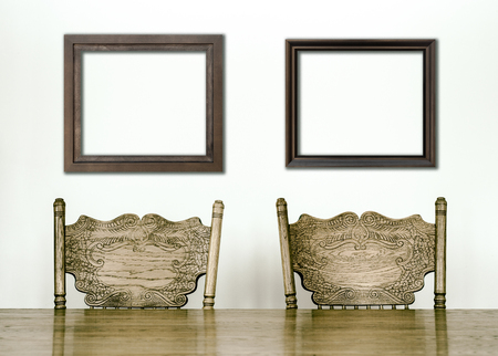Wooden Dining room table and chair details and blank frames for your text, image or logo or even family pictures ! photo