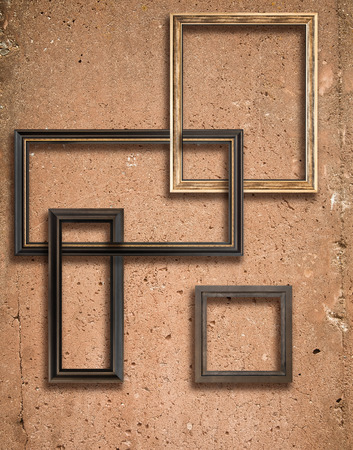 Concrete texture with a lot of details and wooden frames composition photo