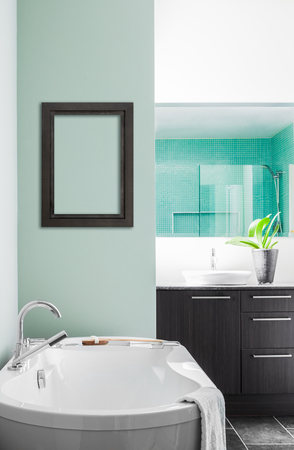 Modern Bathroom with blank wall for your test, image or logo. Soft Green Pastel Colors photo