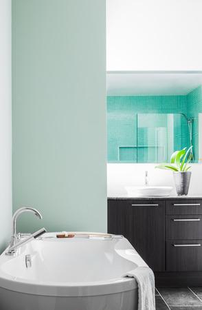 Moderne Badezimmer mit leere Wand für Ihren Test, Bild oder Logo. Weiche grüne Pastellfarben Standard-Bild - 26492508
