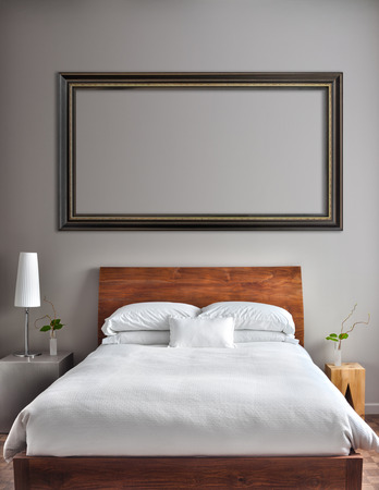 Beautiful Clean and Modern Bedroom with empty wall to add some text, logo, image, etc. Imagens - 26492514
