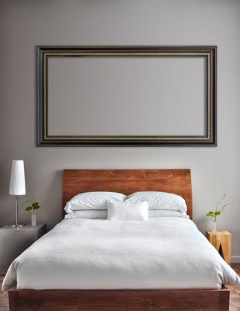 Mooie schone en moderne slaapkamer met lege muur om tekst, logo, afbeelding, etc. toe te voegen