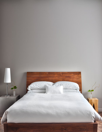 modern: Beautiful Clean and Modern Bedroom with empty wall to add some text, logo, image, etc.