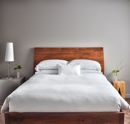 beds: Beautiful Clean and Modern Bedroom with empty wall