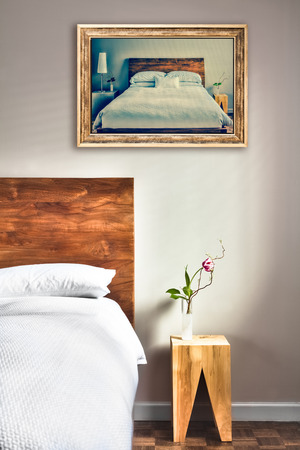 wall decor: Beautiful Clean and Modern Bedroom with fun Canvas on the Wall that is a repetition or infinity concept