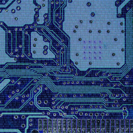circuitry: Binary codes and Microchips Details Stock Photo