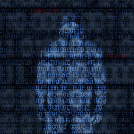 hacked: Binary codes with hacked password on black background