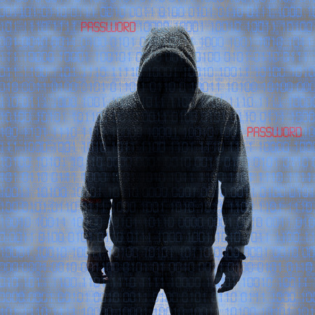Binary codes with hacked password on black background photo