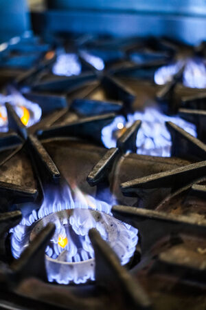 gas stove: Natural Gas Stove in a Restaurant Kitchen