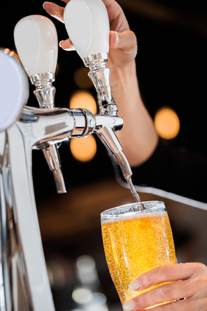 Pouring a Draft Blonde Beer in a Pint Directly from the Tap 스톡 콘텐츠