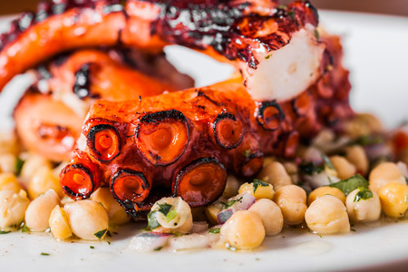 Cooked Octopus Plate with ChickPeas in a Portuguese Restaurant photo