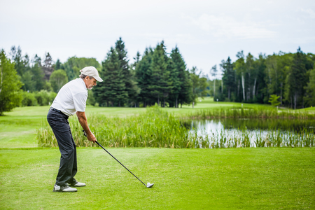 fairway: Mature Golfer on a Golf Course (ready to swing)