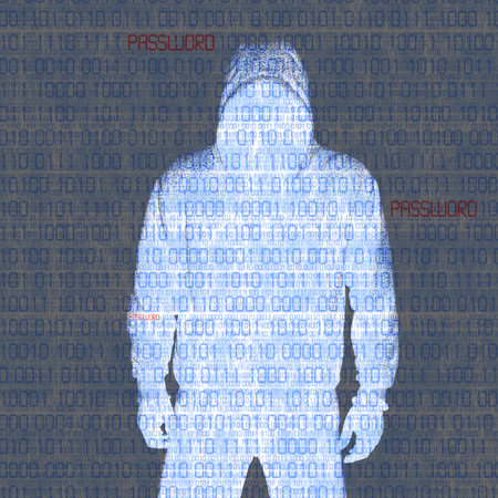 Hacker in Silhouette and Binary codes background photo