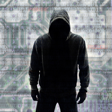 hacker: Hacker in Silhouette and Binary codes background Stock Photo