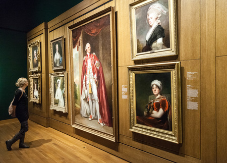 fine arts: Editorial - Montreal, Canada - Montreal Fine Arts Museum Room with Paintings on the wall and Young Adult looking at it.