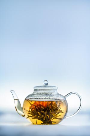 yellow tea pot: Studio shot of Tea Flower in a Clear Teapot