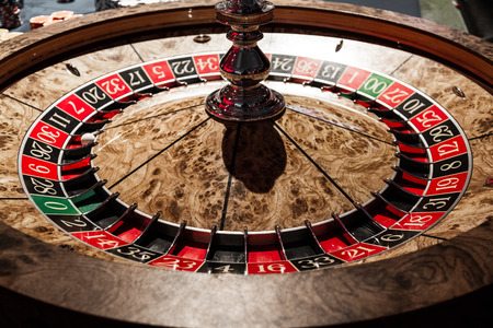 Classy Wooden Shiny Roulette Details in a Casino photo