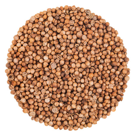 coriander seeds: Perfect Circle of Coriander Seeds Extreme Closeup Isolated on White Background