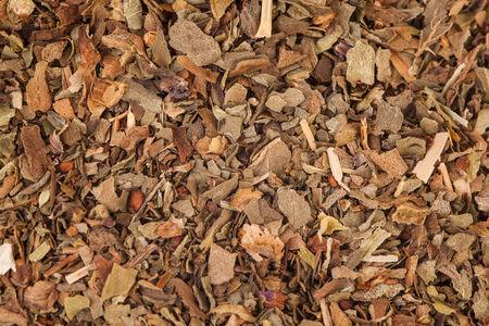 Mix van gedroogde kruiden Macro textuur. Inclusief basilicum, rozemarijn en tijm