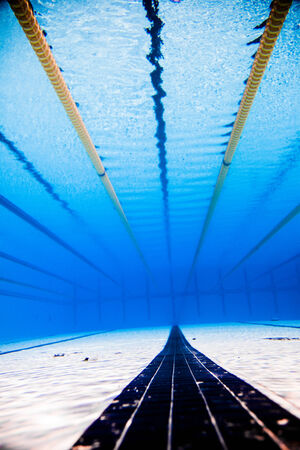 Empty 50m Sports Competition Outdoor Pool And Dividing Lines From Underwater  Photo