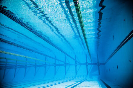 dividing lines: Empty 50m Olympic Outdoor Pool and Dividing lines from Underwater Stock Photo