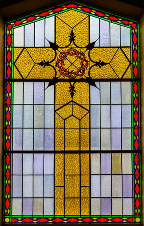 Bright Stained Glass Details inside a Church Editöryel