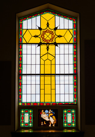 stained glass windows: Bright Stained Glass Details inside a Chusrch