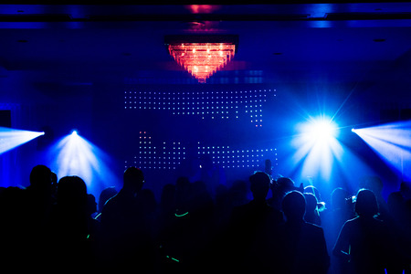 Crowd During a Party or Wedding reception in front of a DJ photo