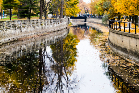 Autumn Montreal Lachine Canal Landscape From the Bridge Stock Photo