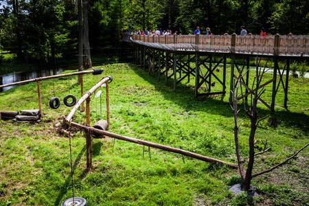 社説 - 2014 年 7 月 29 日訪問者および猿の高い構造が美しい夏の日にパルク サファリ、ケベック、カナダでゲームします。
