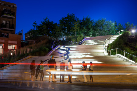 ruch: Editorial - July 24, 2014 in Trois-Riviere, Quebec, Canada. Beautiful Staircase at Night Downtown Trois-Riviere Area where where all the tourists are going.