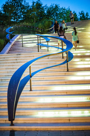 kink: Editorial - July 24, 2014 in Trois-Riviere, Quebec, Canada. Beautiful Staircase at Night Downtown Trois-Riviere Area where where all the tourists are going.