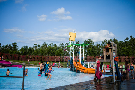 Editorial - July 29, 2014 at Water Games od the Parc Safari, Quebec , Canada on a beautiful  hot summer day.