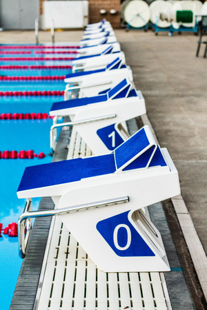 olympic sports: Olympic 50m Outdoor Pool Starting Blocks Editorial