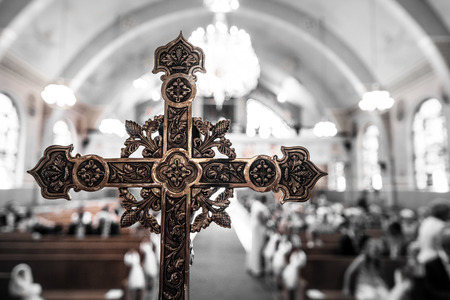 catholicism: Detail of a Cross inside of an Ukranian Church Stock Photo