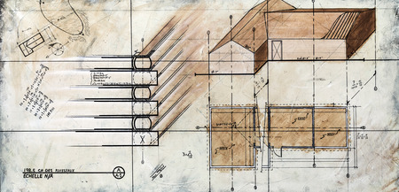 canvas element: Real Contemporary Painting on Canvas of a Generic House Sketch
